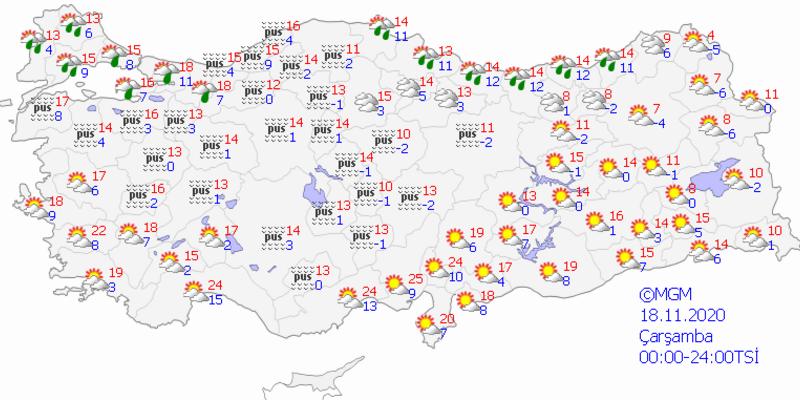Bugün hava nasıl olacak? 18 Kasım Çarşamba İstanbul, İzmir, Ankara hava durumu tahminleri