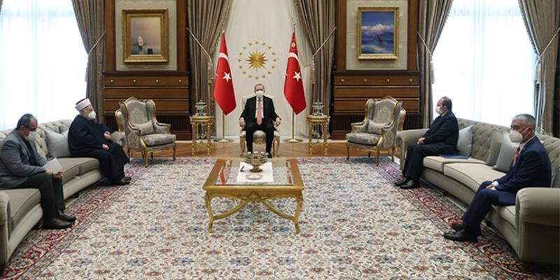 Cumhurbaşkanı Erdoğan, Mescid-i Aksa İmam Hatibi'ni kabul etti