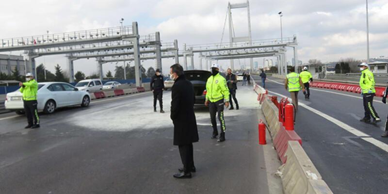 15 Temmuz Şehitler Köprüsü girişinde araç yangını
