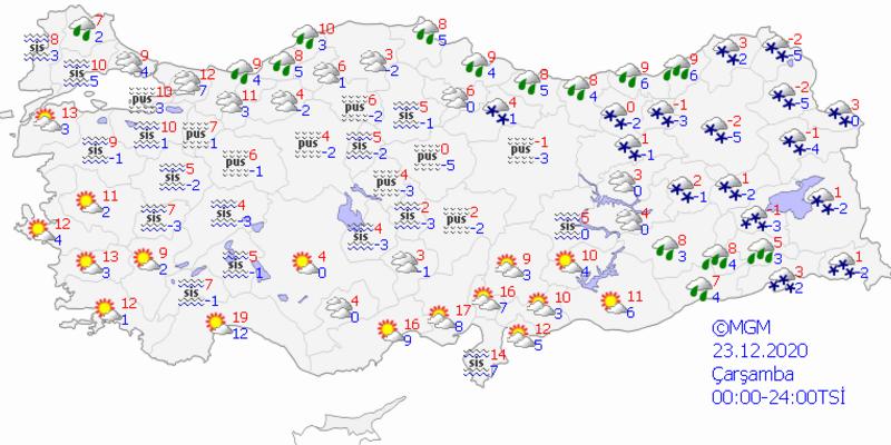 Bugün hava nasıl olacak? 23 Aralık 2020 Meteoroloji İstanbul, Ankara, İzmir ve il il hava durumu tahminleri