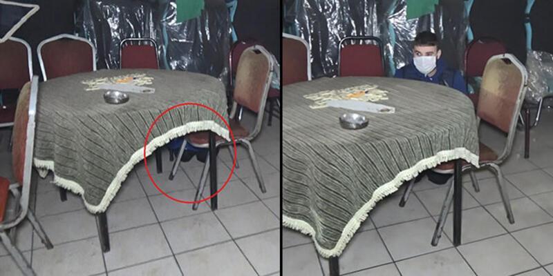Baskında masanın altına saklandı! 'Ayakkabımı bağlıyordum' dedi