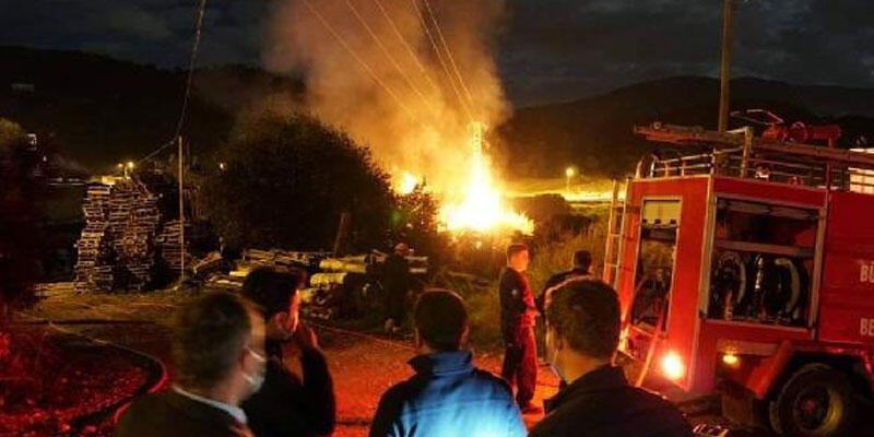 Bodrum'da palet fabrikasında yangın