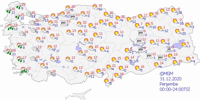 Bugün hava nasıl? 31 Aralık 2020 Perşembe İstanbul, Ankara, İzmir yılbaşı hava durumu