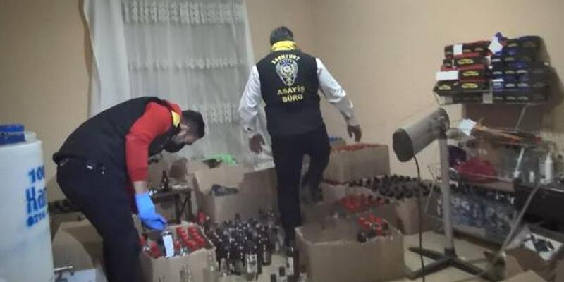 Esenyurt'ta yılbaşına saatler kala sahte alkol imalathanesine baskın