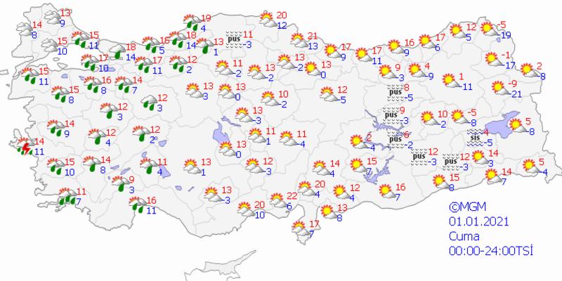 Bugün hava nasıl? 1 Ocak 2021 Meteoroloji İstanbul, Ankara, İzmir hava durumu