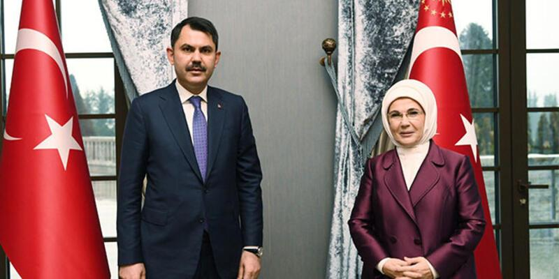Bakan Kurum, 'Sıfır Atık' projesi ile ilgili Emine Erdoğan'ı ziyaret etti