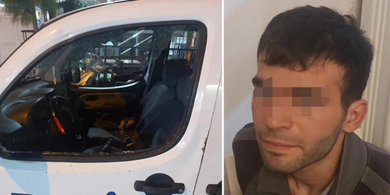 Tutuklanmak için polis otolarına zarar verdi