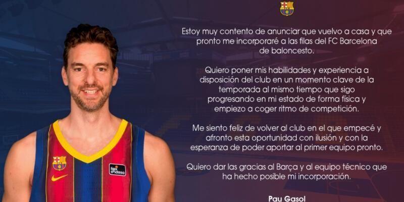 Pau Gasol Barcelona'ya döndü