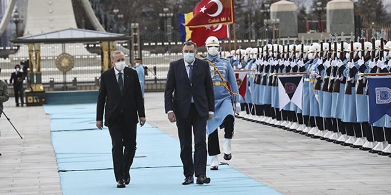 Bosna Hersek'ten Ankara'ya ziyaret: Devlet Başkanlığı Konseyi üyelerine resmi karşılama