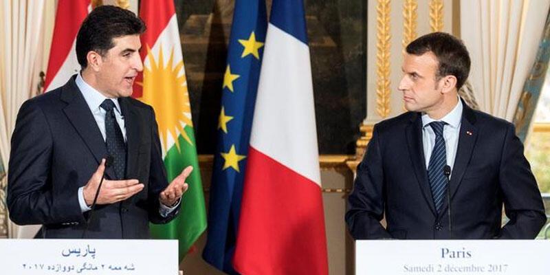 Fransa Cumhurbaşkanı Macron ve IKBY Başkanı Barzani Paris'te bir araya geldi