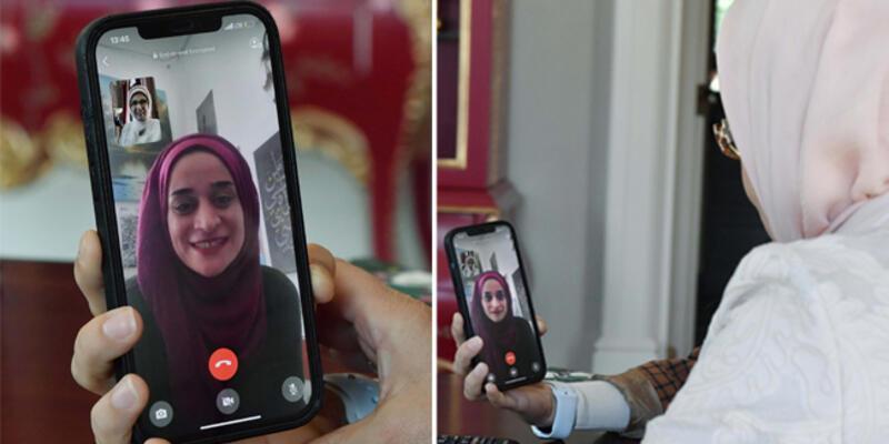 Emine Erdoğan, Filistin'de 'direnişin sembolü' olan Mariam Afifi ile telefonda görüştü