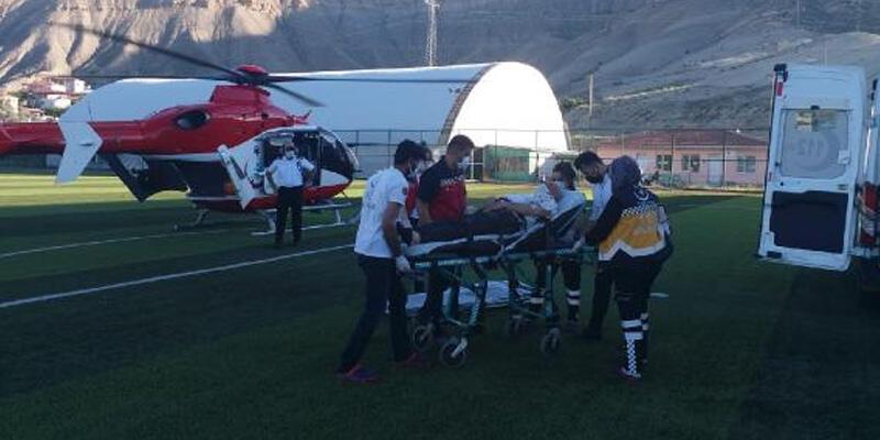 Kalp krizi geçirdi, ambulans helikopterle hastaneye ulaştırıldı