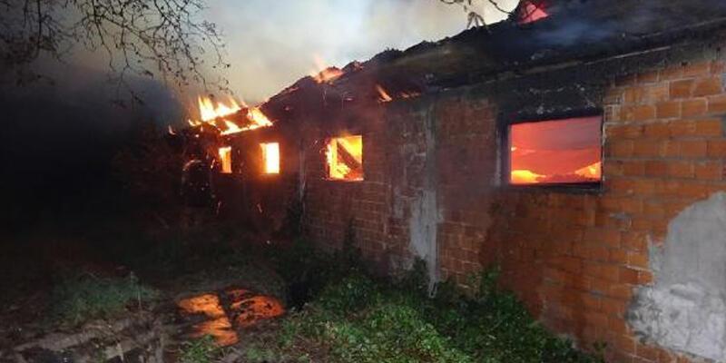 Mangal kömürü deposu alev alev yandı
