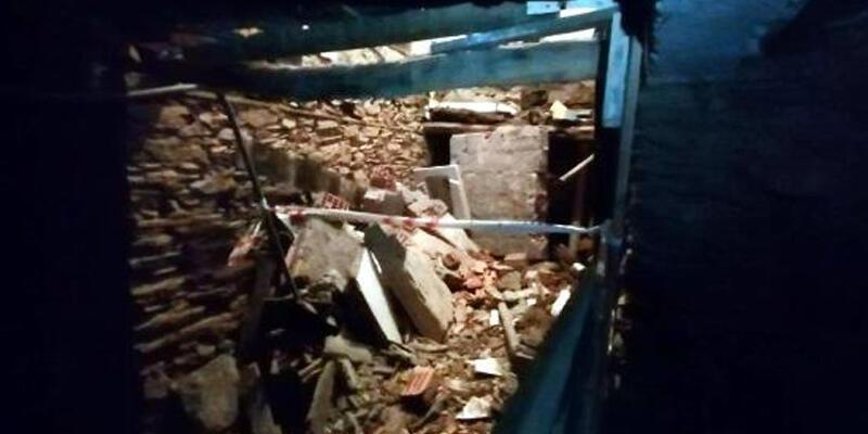 Taş evin mutfak kısmı çöktü: 1 yaralı