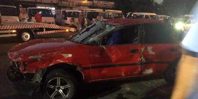 TIR'ın çarpıp kaçtığı otomobil takla attı