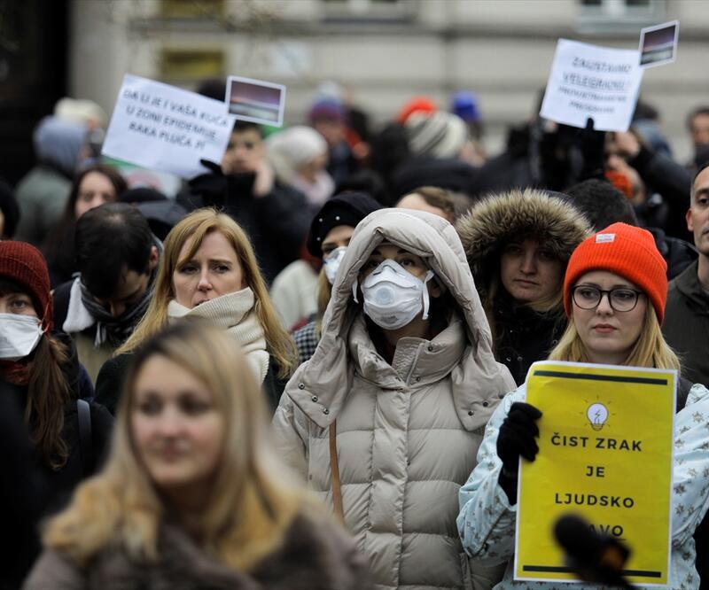 """Saraybosna'da """"hava kirliliği"""" protestosu"""