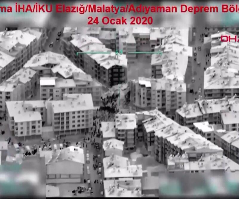 İHA'ların gözünden deprem bölgesi