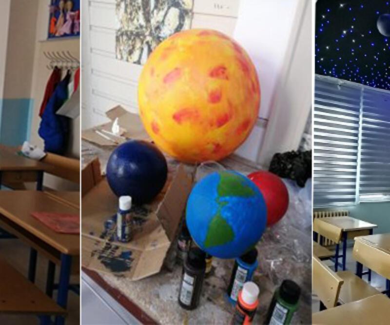 Sınıfı baştan yarattılar! Uzaktan eğitimden dönecek öğrencilere büyük sürpriz