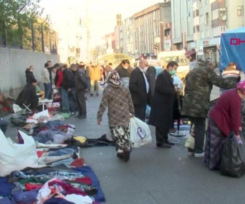 'Kaldırım pazarı' kalabalığı... Maskesiz, mesafesiz alışveriş yaptılar | Video