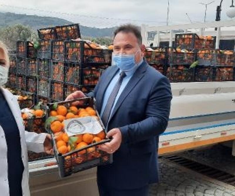 Havran'da Yerli Malı Haftasında sağlık çalışanlarına mandalina dağıtıldı