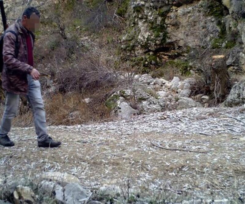 Yaban keçilerinin peşine düşen avcılar fotokapana yakalandı