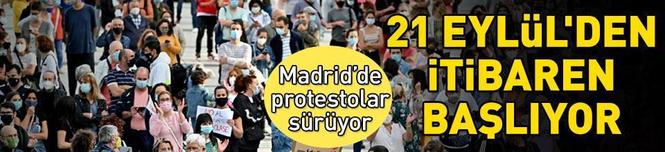 Madrid'de bölgesel karantina protesto edildi